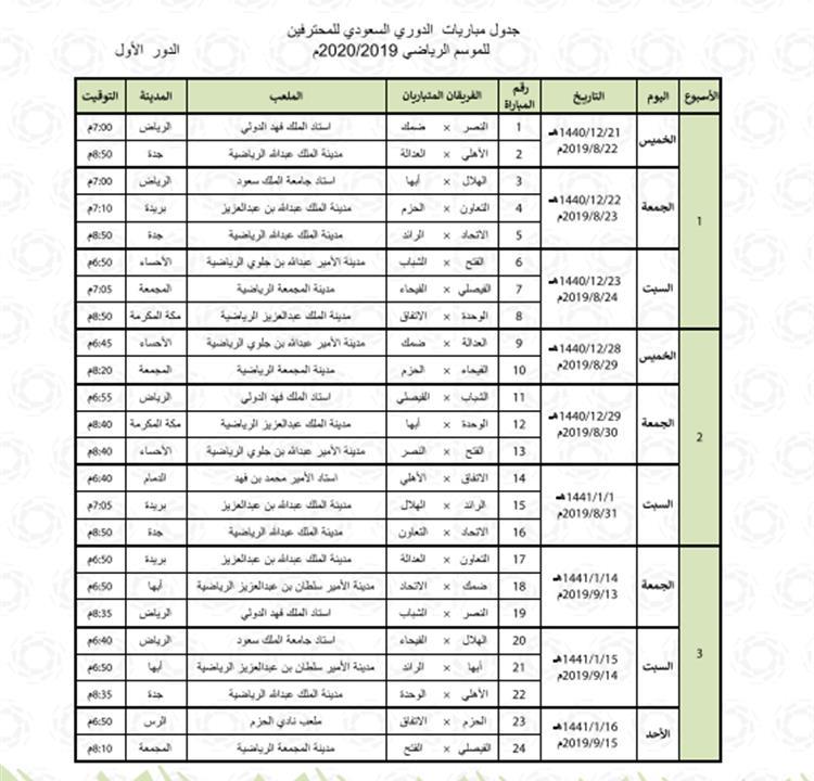 مباريات الدوري السعودي يوم السبت