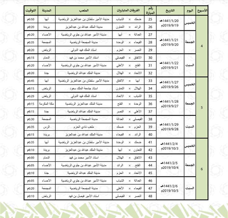 رسمي ا الإعلان عن مواعيد مباريات الدوري السعودي لموسم 2019 2020