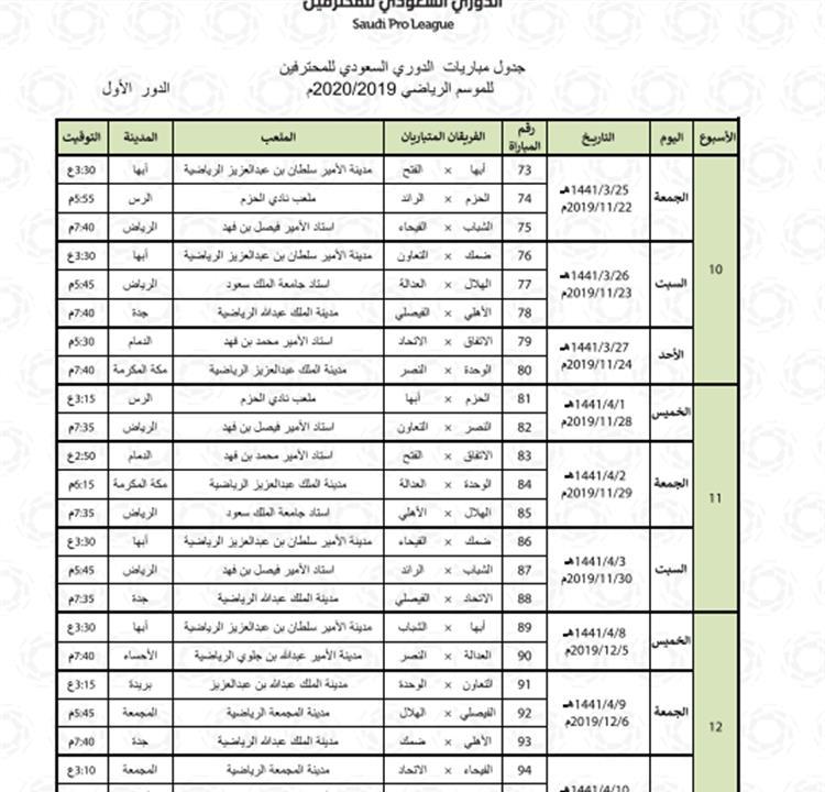 الدوري السعودي ٢٠١٩ ٢٠٢٠
