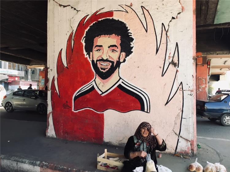 محمد صلاح مهاجم ليفربول ومنتخب مصر على جدارية في طنطا