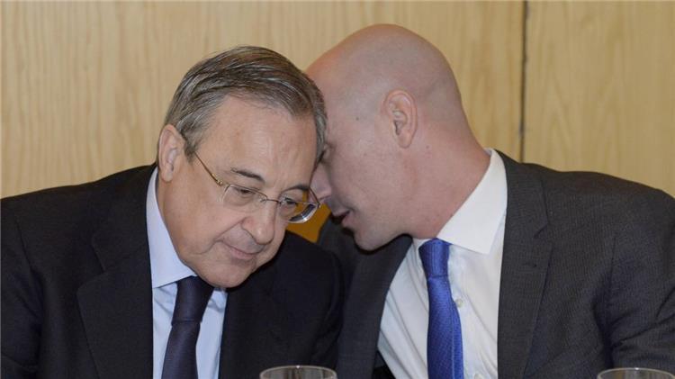 فلورنتينو بيريز رئيس ريال مدريد مع لويس روبياليس رئيس الاتحاد الاسباني
