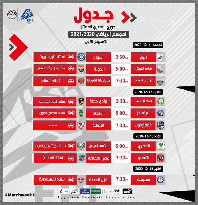 موعد مباراة الزمالك القادمة في الدوري المصري 2020 2021 بطولات