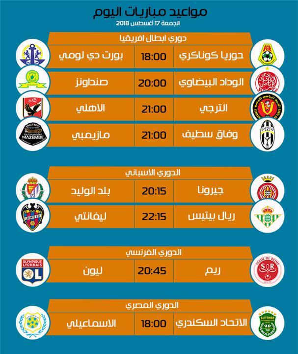 مواعيد مباريات اليوم: تعرف على مباريات اليوم الجمعة 17-8-2018 بالمواعيد والقنوات