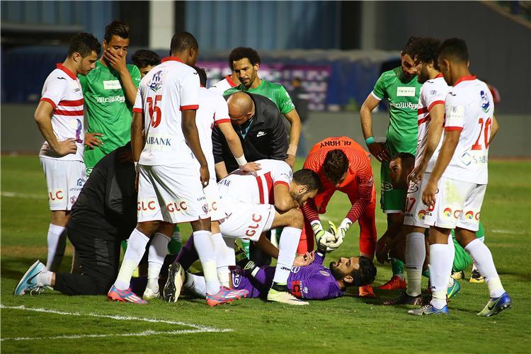 لحظة اصابة محمد الشناوي