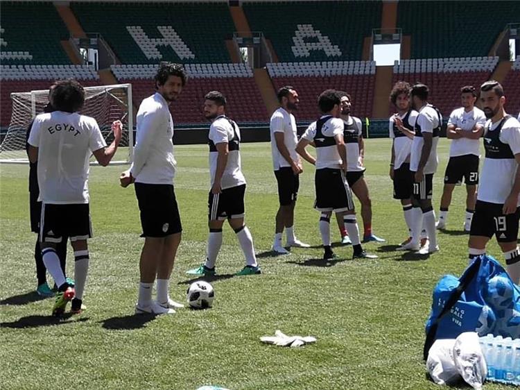 لاعبو منتخب مصر في التدريبات