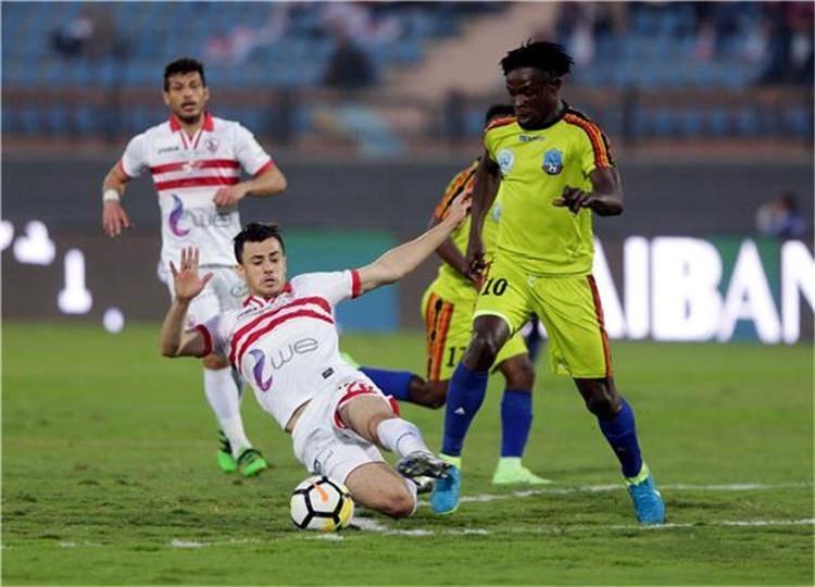 The date and channel of the match between Zamalek and Tangier Union today in the Confederation 84