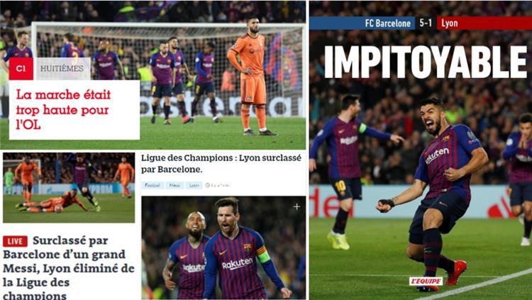 ردود افعال الصحافة الفرنسية على فوز برشلونة 5 1 ليون