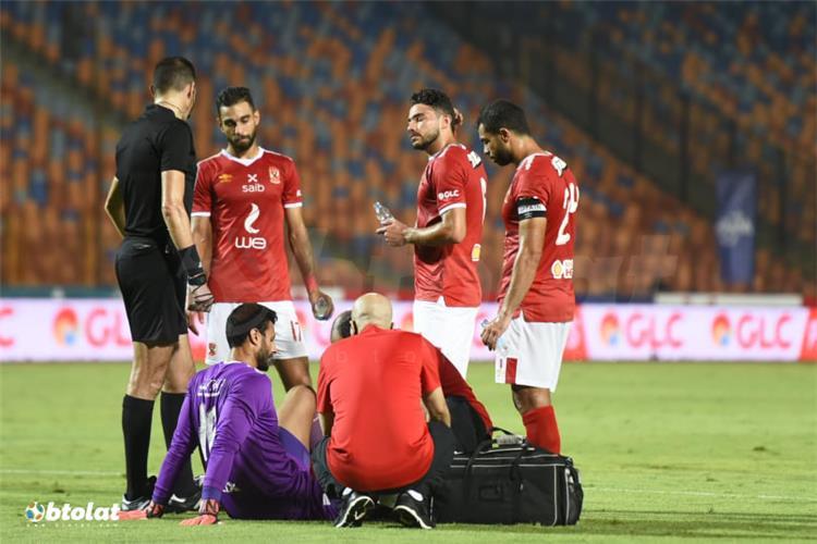 محمد الشناوي في مباراة الأهلي والمقاولون العرب
