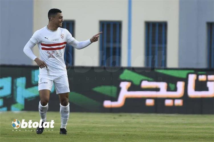 مصطفى محمد من مباراة الزمالك واسوان في الدوري