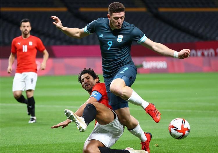 احمد حجازي من مباراة مصر والارجنتين في اولمبياد طوكيو