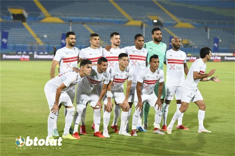 فريق الزمالك من مباراة الانتاج الحربي في الدوري