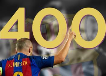أرقام.. الرسام آنيستا لعب مباراته رقم 400 بقميص برشلونة في الليجا