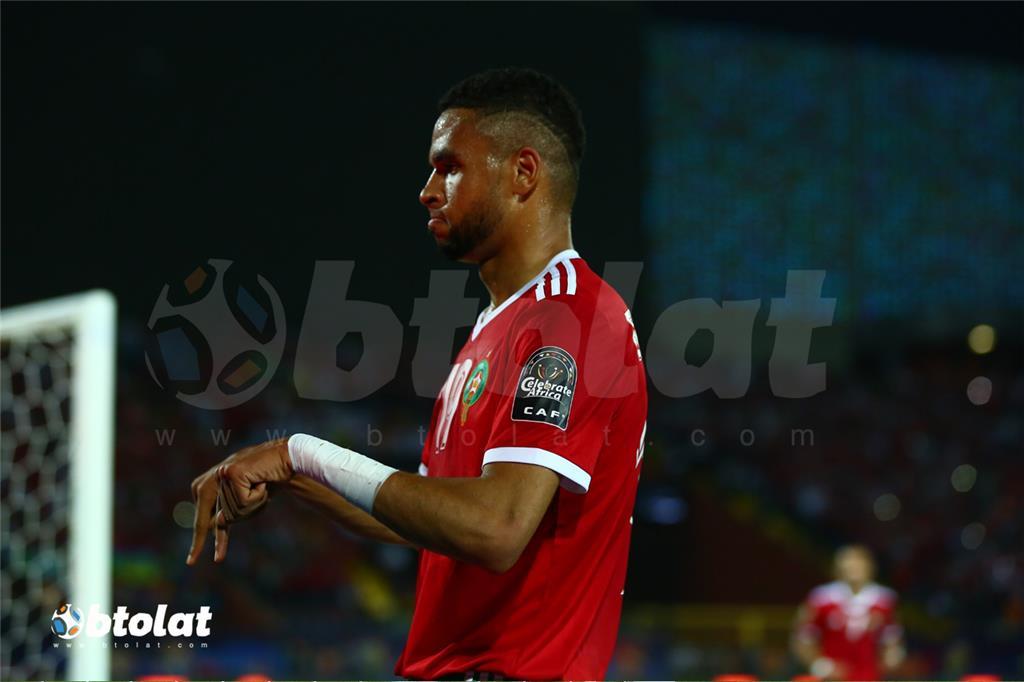 يوسف النصيري لحظة احتفاله بتسجيل هدف المباراة الوحيد
