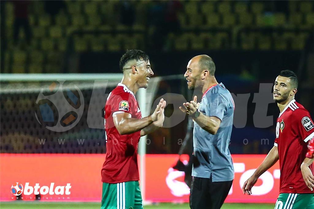 فرحة لاعبي المغرب عقب انتهاء المباراة