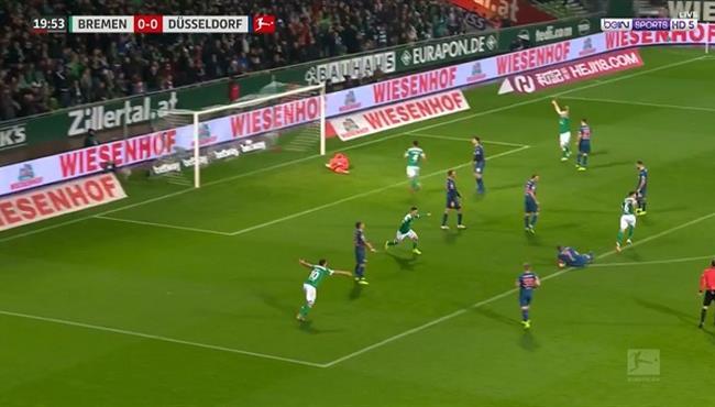 هدف رائع في مباراة فيردر بريمن وفورتونا دوسلدورف بالدوري الالماني