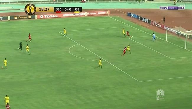 العارضة تحرم سيمبا من هدف اول امام شبيبة الساورة في دوري ابطال افريقيا