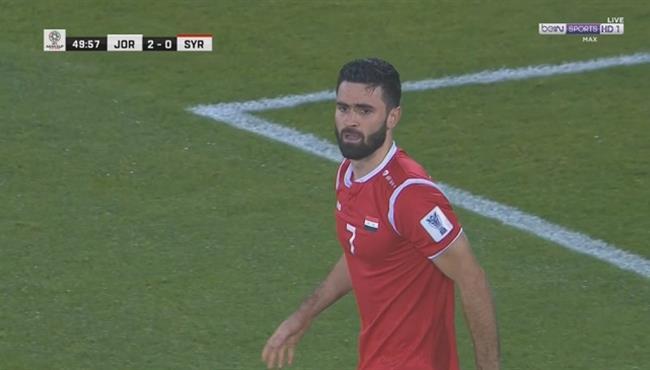 عمر خربيين يهدر فرصة خطيرة لسوريا امام الاردن فى كأس اسيا
