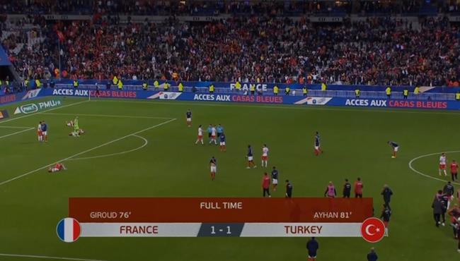 ملخص مباراة فرنسا وتركيا (1-1) تصفيات امم اوروبا