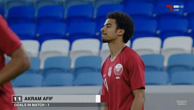 هدف قطر الاول في مرمي عمان .. اكرم عفيف