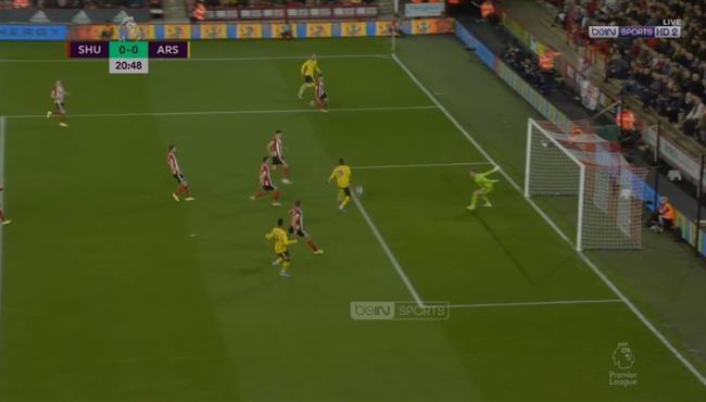 بيبي يهدر هدف محقق لأرسنال امام شيفيلد يونايتد
