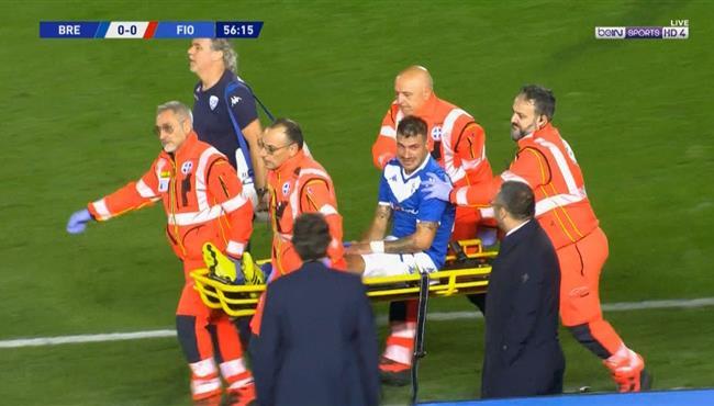 اصابة قوية للاعب بريشيا وخروجه امام فيورنتينا في الدوري الايطالي