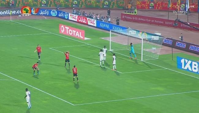 كريم العراقي يهدر فرصه خطيرة لمصر الاوليمبي امام غانا
