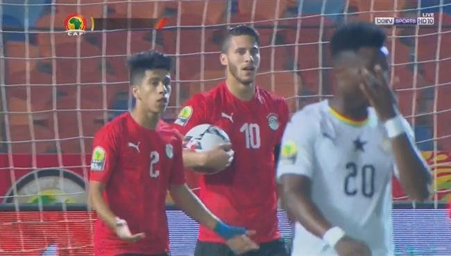 هدف مصر الاوليمبي الملغي امام غانا بداعي التسلل ورد فعل شوقي غريب