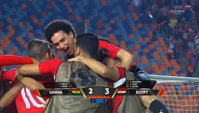 فرحة لاعبي مصر الاوليمبي بعد الفوز القاتل علي غانا في كأس امم افريقيا تحت 23 عام