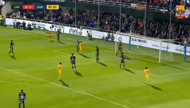 هدف برشلونة الثاني فى مرمى قرطاجنة .. مباراة ودية