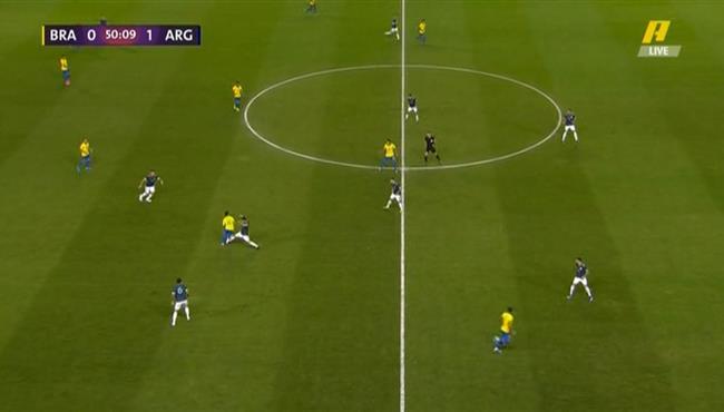 لقطة مهارية من كوتينيو في مباراة الارجنتين والبرازيل