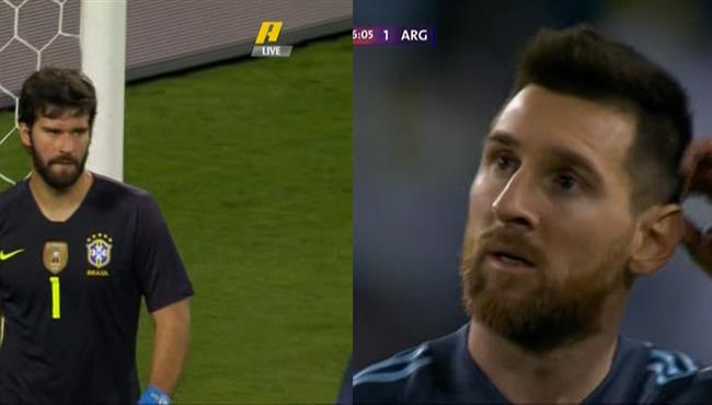 تصدي رائع من اليسون امام ميسي في مباراة الارجنتين والبرازيل