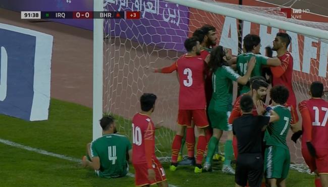 مشادة بين لاعبي العراق والبحرين في تصفيات اسيا لكأس العالم