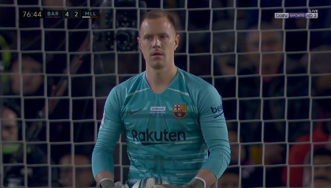 تصدي تير شتيجن المزهل امام ريال مايوركا في الدوري الاسباني