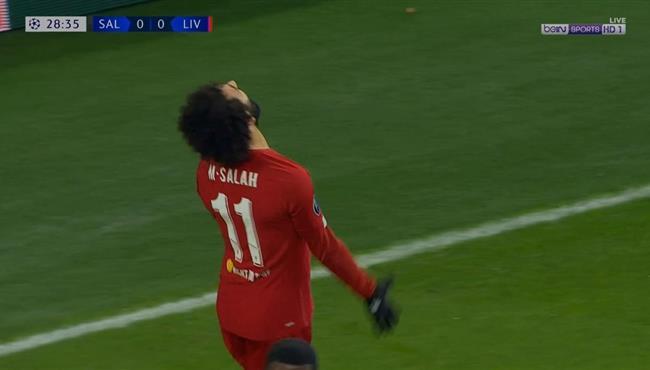 محمد صلاح يهدر هدف محقق امام سالزبورج في دوري ابطال اوروبا