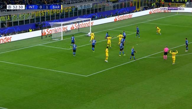 لونجليه يهدر فرصة هدف محقق لبرشلونه امام انتر ميلان