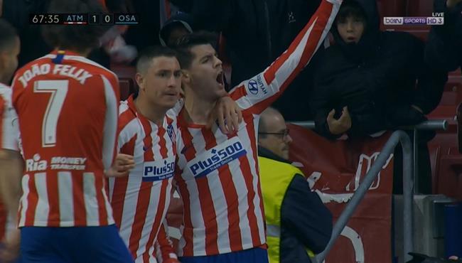اهداف مباراة اتلتيكو مدريد واوساسونا (2-0) الدوري الاسباني