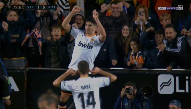 هدف فالنسيا الاول في مرمي ريال مدريد بالدوري الاسباني