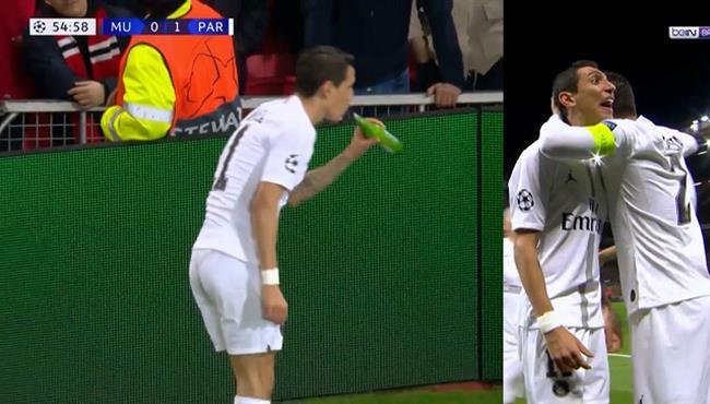 دي ماريا يستفز جمهور مانشستر يونايتد في دوري ابطال اوروبا