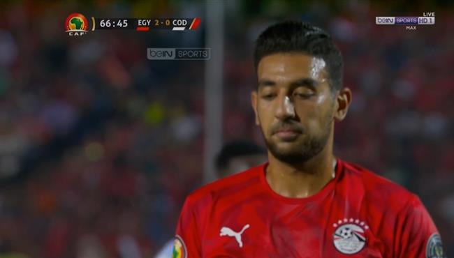 احمد حسن كوكا يهدر فرصه هدف في مباراة مصر والكونغو والديمقراطية
