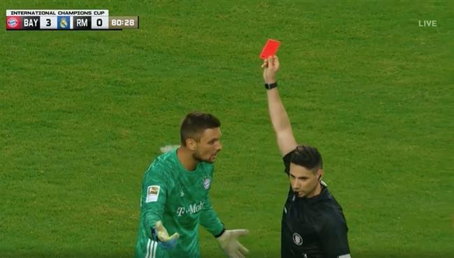 طرد حارس مرمي بايرن ميونخ امام ريال المدريد في كاس الابطال الدولية