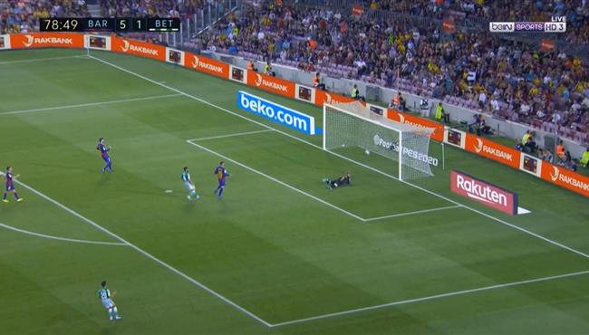 هدف ريال بيتيس الثاني العالمي في مرمي برشلونة بالدوري الاسباني