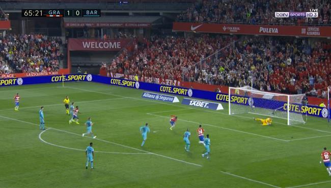 هدف غرناطة الثاني في مرمي برشلونة بالدوري الاسباني