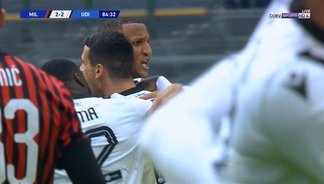 هدف تعادل اودينيزي مع ميلان (2-2) الدوري الايطالي