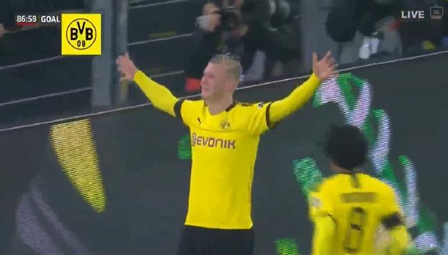 هدفا هالاند في مباراة بوروسيا دورتموند وكولن بالدوري الالماني