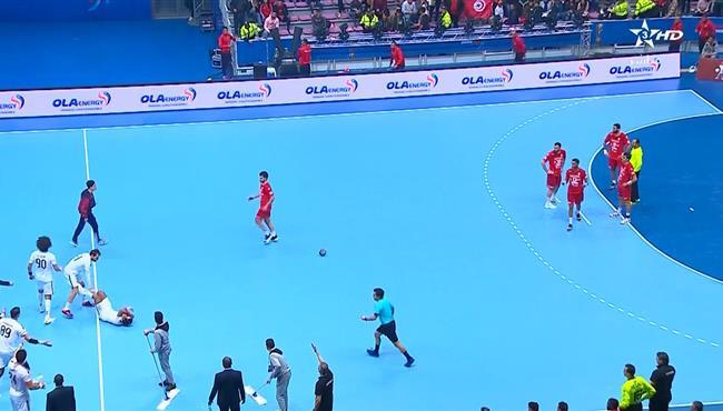 مشجع تونسي يضرب علي زين العابدين في مباراة مصر وتونس
