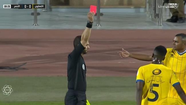 طرد ريان الموسى في مباراة النصر والتعاون بالدوري السعودي