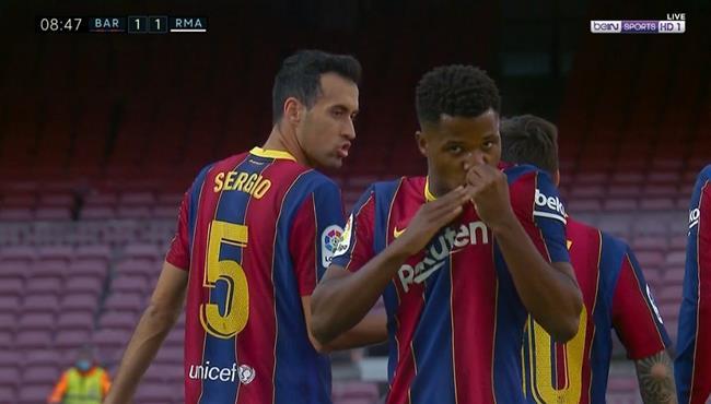 هدف تعادل برشلونة مع ريال مدريد .. انسو فاتي