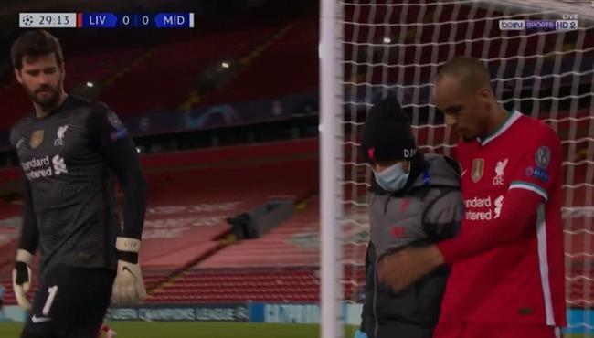 اصابة فابينيو وخروجة من مباراة ليفربول وميتلاند