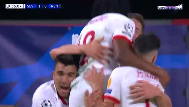 هدف فوز اشبيلية الرائع علي رين (1-0) دوري ابطال اوروبا