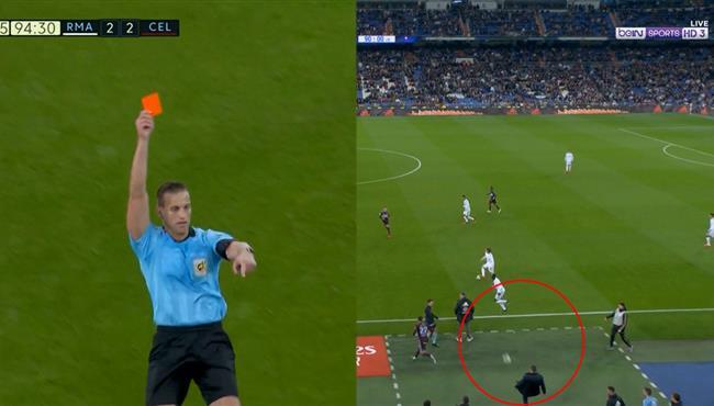 طرد اداري سيلتا فيجو بعد القاء الكرة في الملعب امام ريال مدريد لتعطيل اللعب